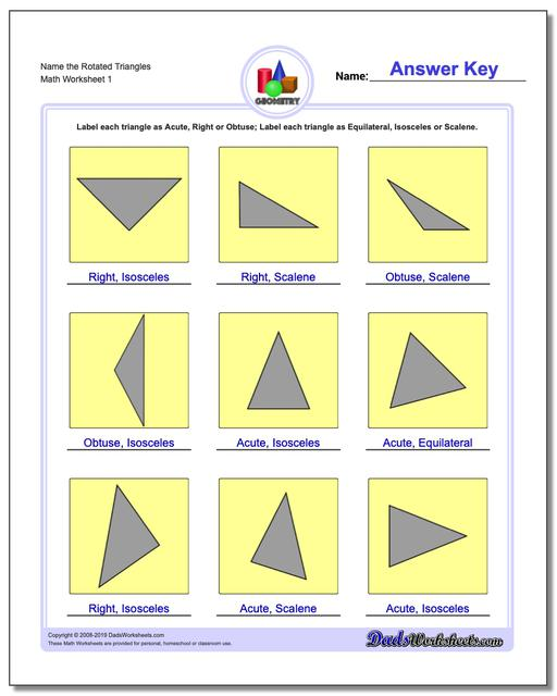 Name the Rotated Triangles Basic Geometry Worksheets