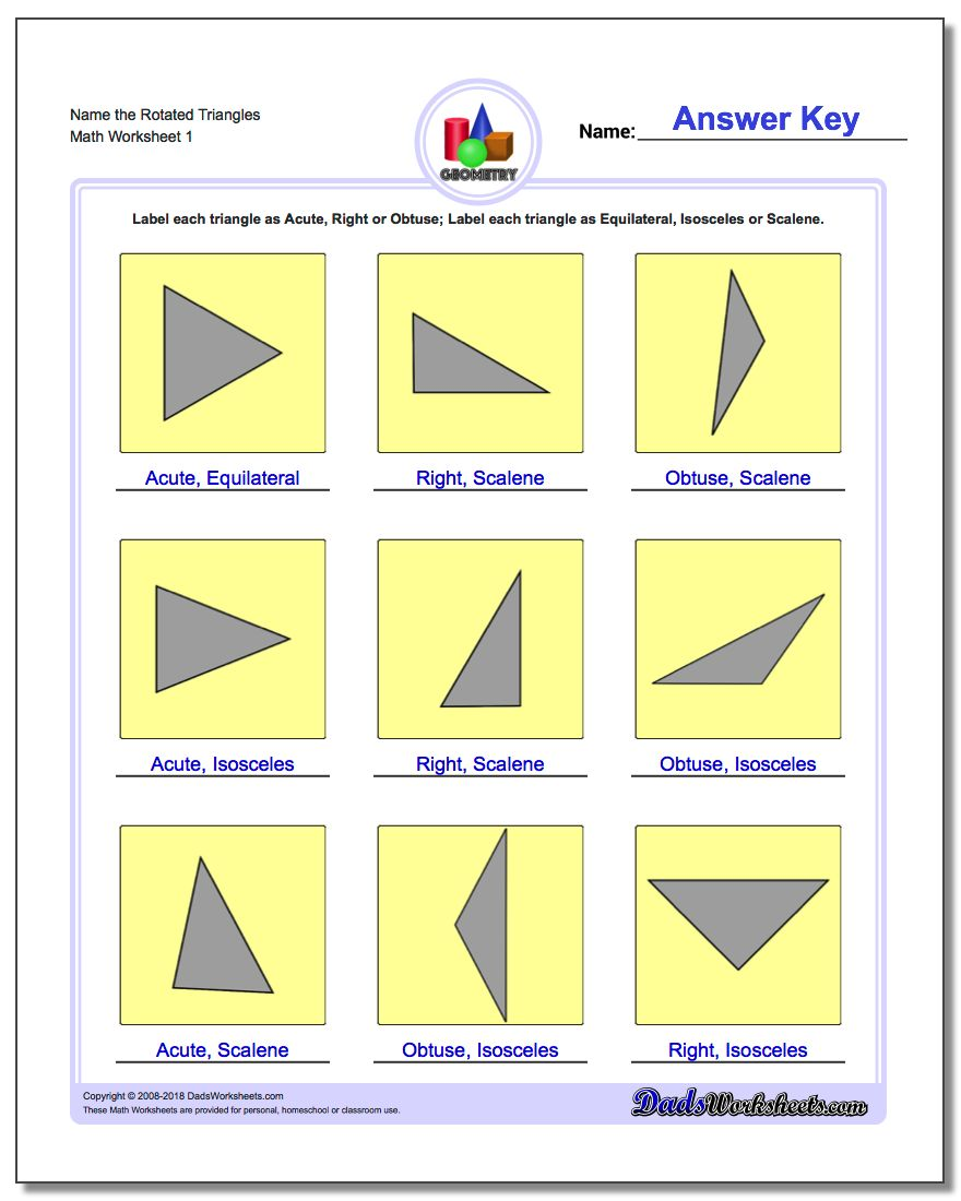 worksheet Types Of Quadrilaterals Worksheet basic shapes name the rotated triangles geometry worksheet
