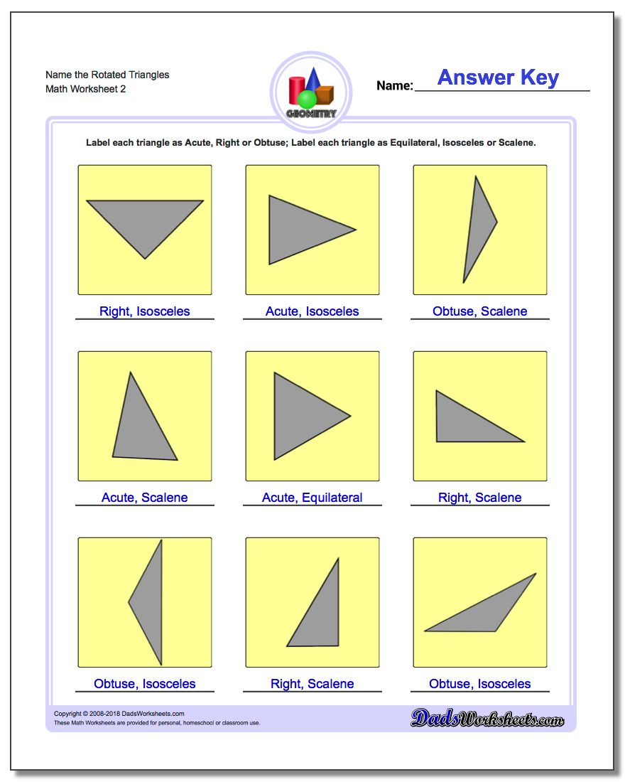 Name the Rotated Triangles www.dadsworksheets.com/worksheets/basic-geometry.html Worksheet