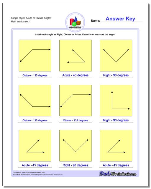 Simple Right, Acute or Obtuse Angles Basic Geometry Worksheets
