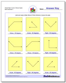 Angles, Right, Obtuse, Acute Basic Geometry Worksheet
