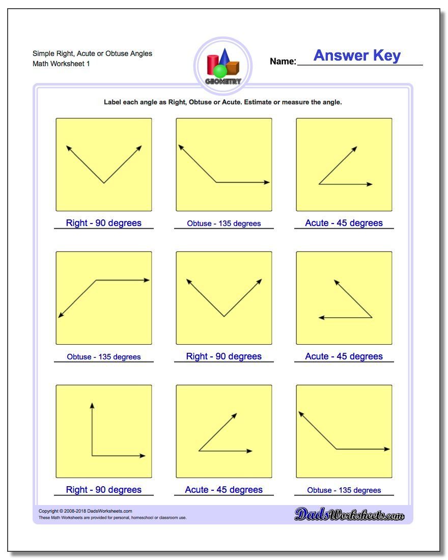 worksheet Worksheets For Measuring Angles angles right obtuse acute simple or basic geometry worksheet