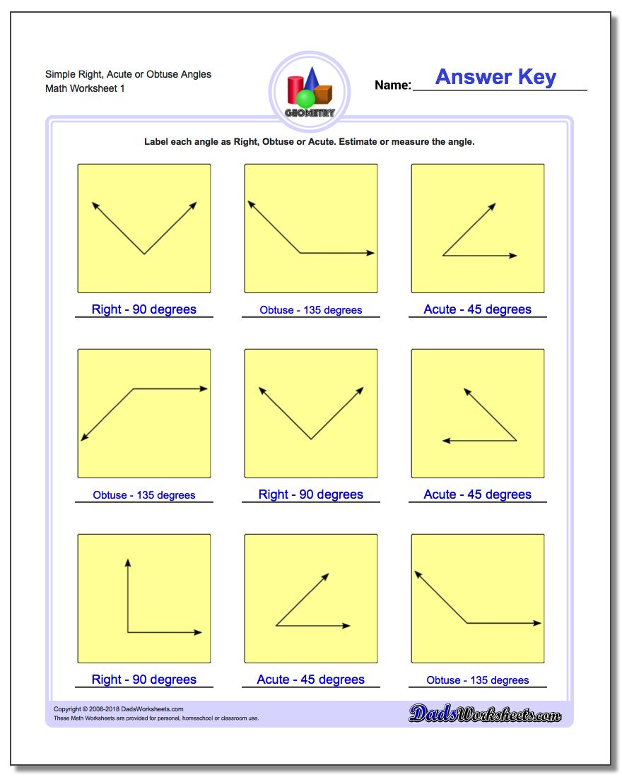 Simple Right, Acute or Obtuse Angles Basic Geometry Worksheet