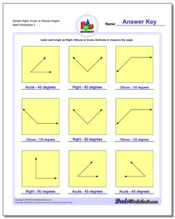 Simple Right, Acute or Obtuse Angles www.dadsworksheets.com/worksheets/basic-geometry.html Worksheet