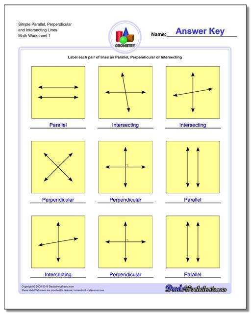 Simple Parallel, Perpendicular and Intersecting Lines Basic Geometry Worksheets