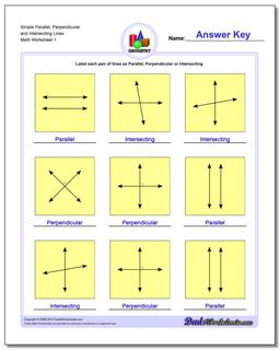 Parallel, Perpendicular, Intersecting Basic Geometry Worksheet