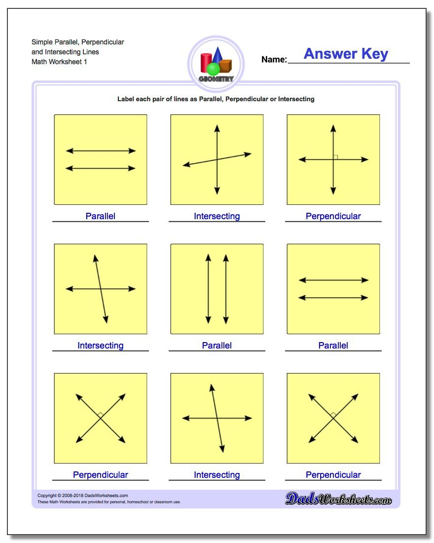 Worksheets Intersecting Lines Worksheet parallel perpendicular intersecting simple and lines basic geometry worksheet