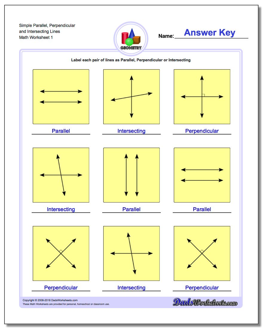 Simple Parallel, Perpendicular and Intersecting Lines Basic Geometry Worksheet
