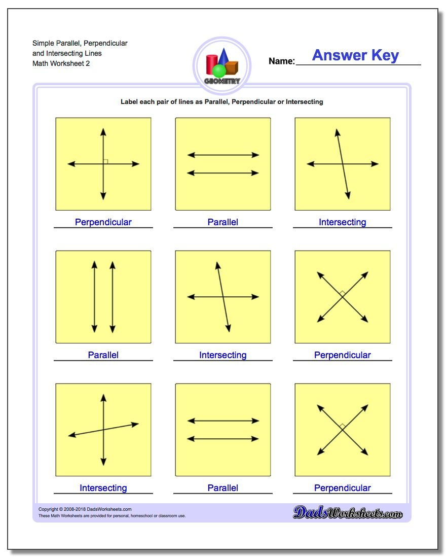Simple Parallel, Perpendicular and Intersecting Lines www.dadsworksheets.com/worksheets/basic-geometry.html Worksheet