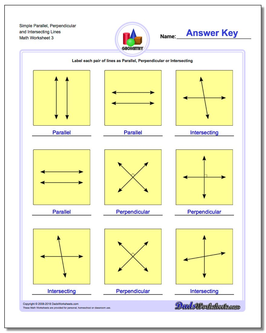 Simple Parallel, Perpendicular and Intersecting Lines Worksheet