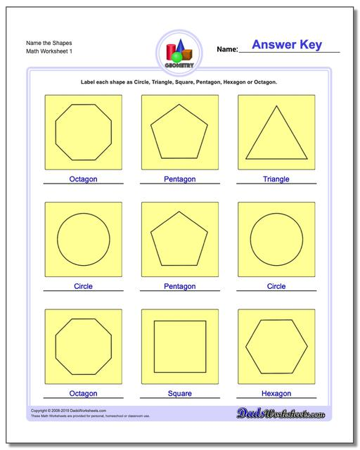 Name the Shapes Basic Geometry Worksheets