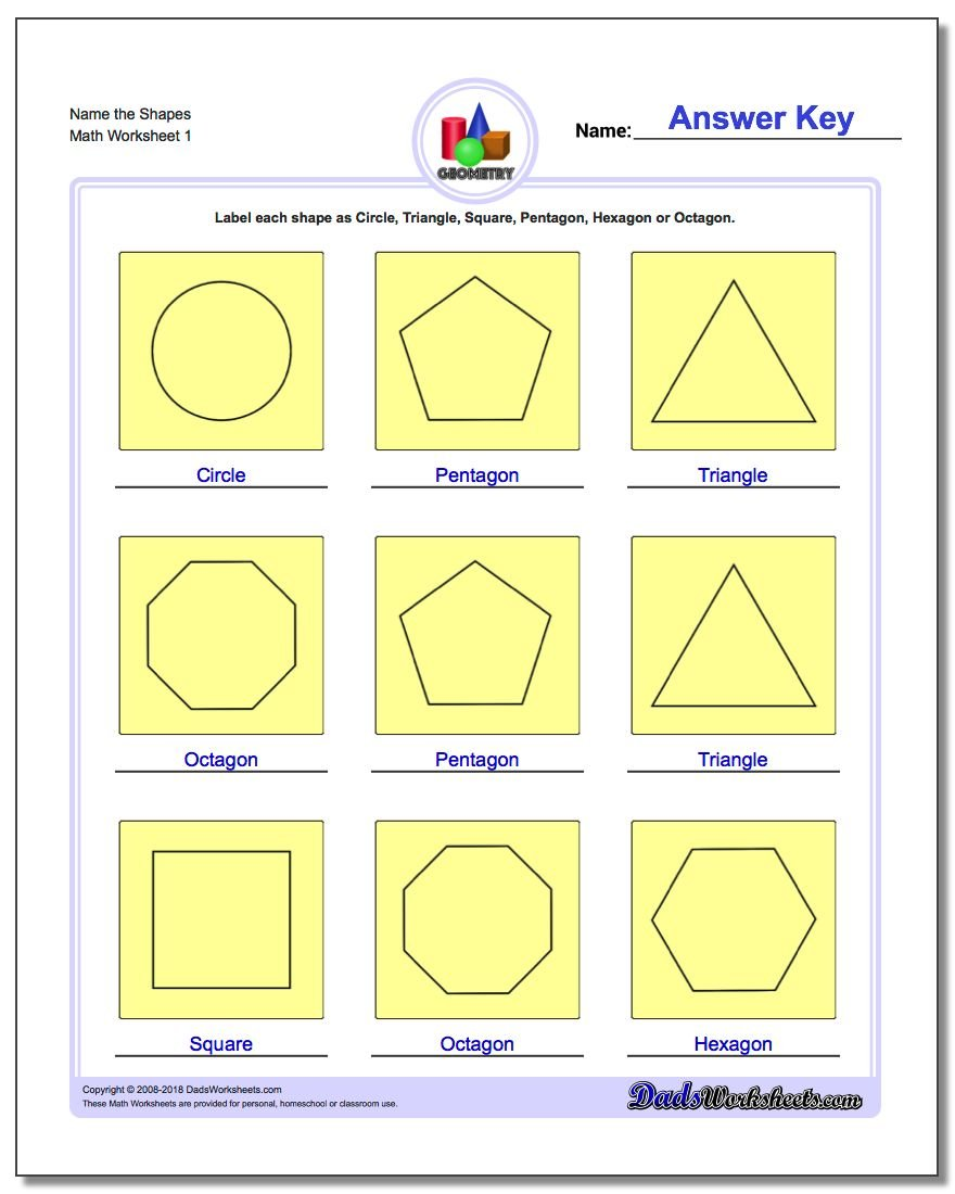 worksheet Identifying Shapes Worksheets basic shapes name the geometry worksheet