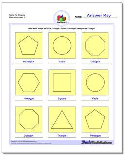 Name the Shapes www.dadsworksheets.com/worksheets/basic-geometry.html Worksheet