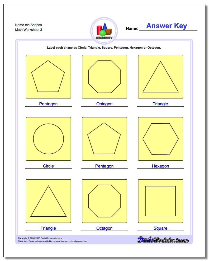 Name the Shapes Worksheet