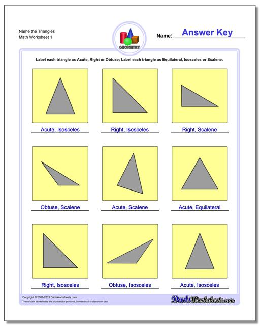 Name the Triangles Basic Geometry Worksheets