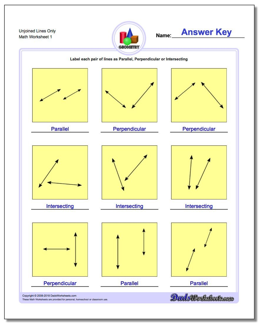 Unjoined Lines Only Basic Geometry Worksheet