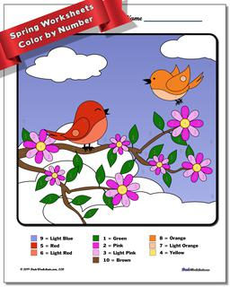 Spring Color by Number Worksheet #Color #By #Number #Worksheet