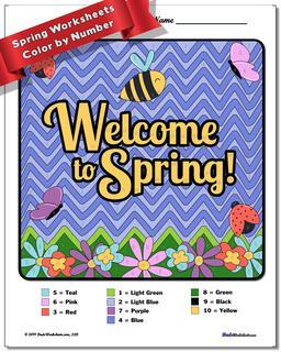 Spring Color by Number Worksheet #Color #By #Number #Worksheet