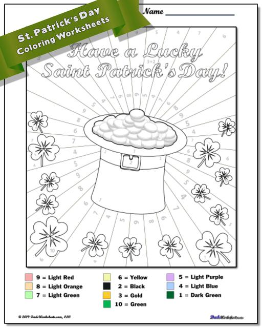 St. Patrick's Day Color by Number Worksheets