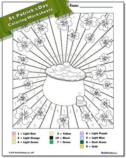 St. Patrick's Day Color by Number Worksheet #Color #By #Number #Worksheet