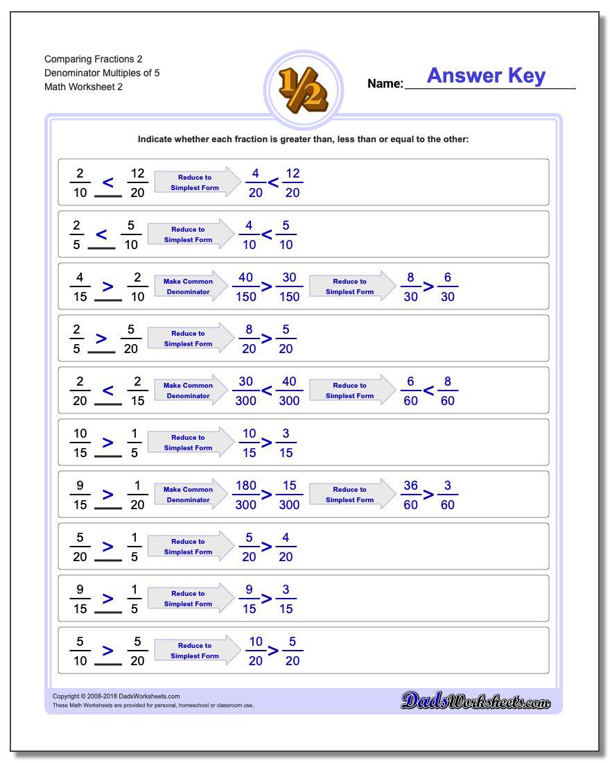 Comparing Fraction Worksheets 2 Denominator Multiples of 5 www.dadsworksheets.com/worksheets/comparing-fractions.html