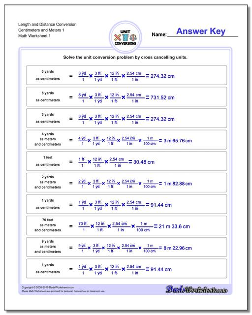 Customary and Metric Length Distance Conversion Worksheets Centimeters Meters 1