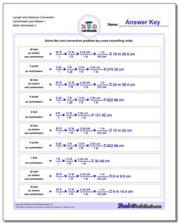 Length and Distance Conversion Worksheet Centimeters and Meters 1 www.dadsworksheets.com/worksheets/customary-and-metric.html