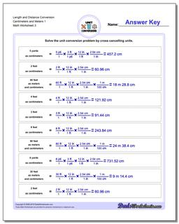 Length and Distance Conversion Worksheet Centimeters and Meters 1