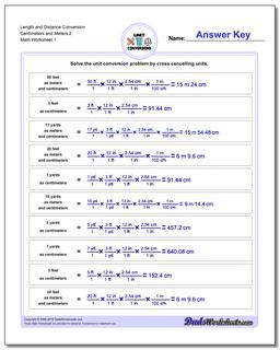 Customary and Metric Length Distance Conversion Worksheet Centimeters Meters 2