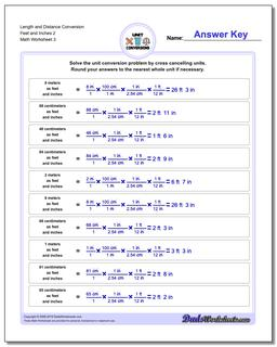 Length and Distance Conversion Worksheet Feet and Inches 2