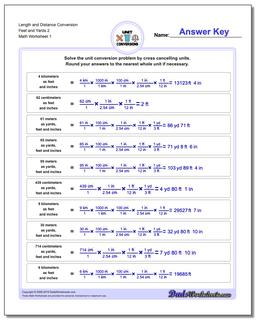 Customary and Metric Length Distance Conversion Worksheet Feet Yards 2