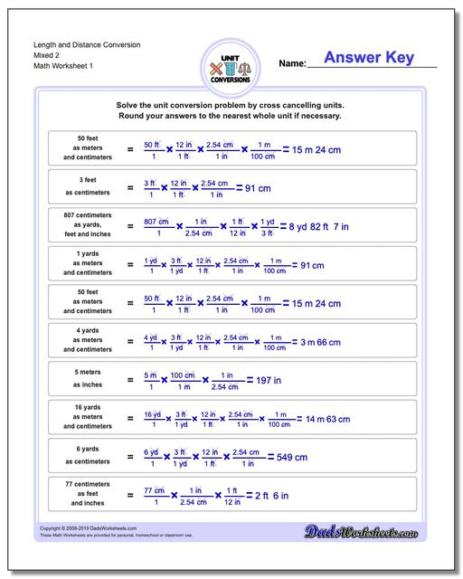 Customary and Metric Length Distance Conversion Worksheets Mixed 2