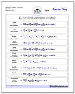 Customary and Metric Length Distance Conversion Worksheet Mixed 2
