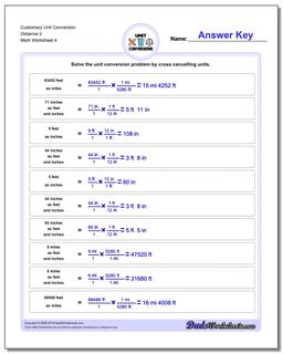 Customary Unit Conversion Worksheet Distance 2