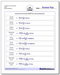 Customary Unit Conversion Worksheet Mass 1