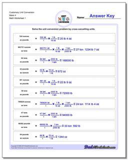 Customary Unit Conversion Worksheets Conversion Mass 4