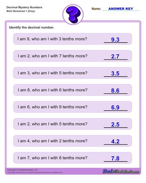 Decimal place value mystery number worksheets Decimal Place Value Easy V1