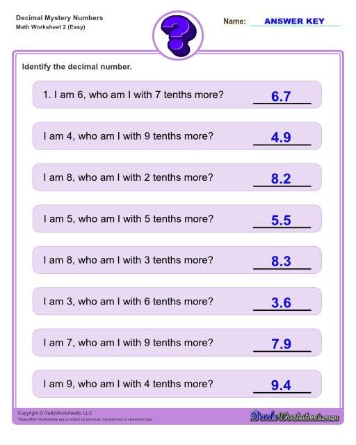 Decimal place value mystery number worksheets Decimal Place Value Easy V2