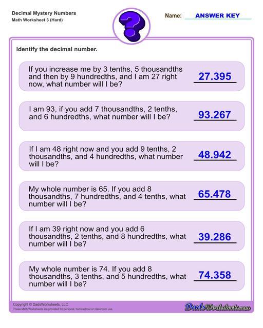 Decimal place value mystery number worksheets Decimal Place Value Hard V3