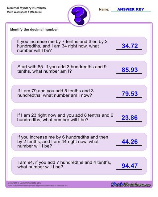 Decimal place value mystery number worksheets Decimal Place Value Medium V1