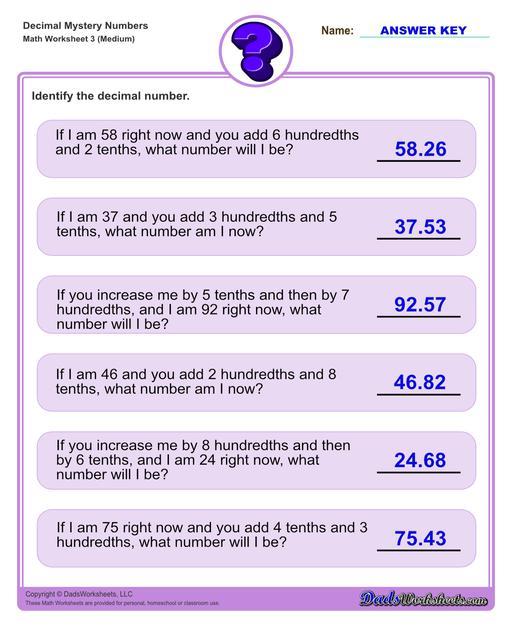 Decimal place value mystery number worksheets Decimal Place Value Medium V3