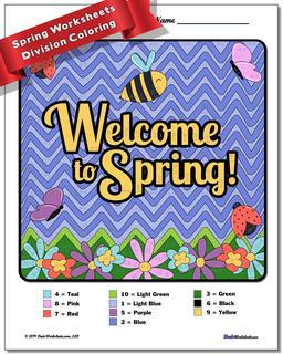 Spring Division Color by Number Worksheet #Division #Worksheet #Color #By #Number