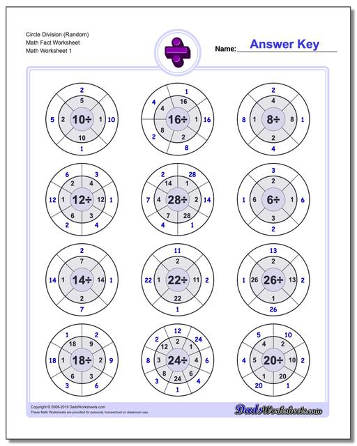 Division Worksheets Circle (Random) Math Fact Worksheets