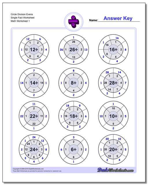 Division Worksheets Circle Evens Single Fact Worksheets