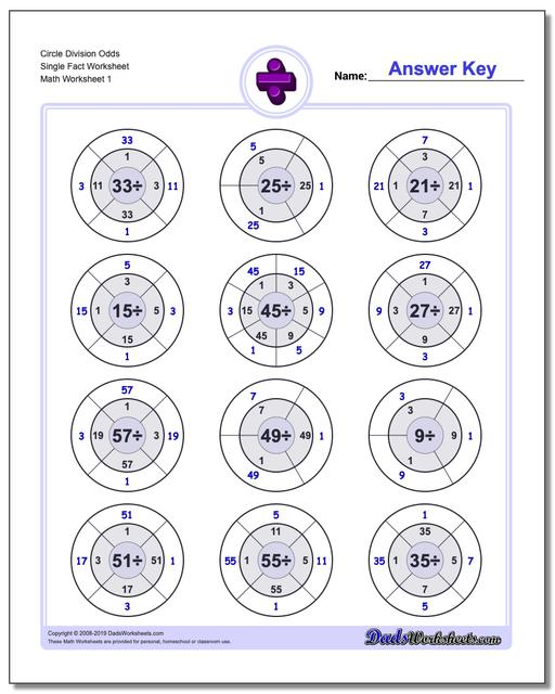 Division Worksheets Circle Odds Single Fact Worksheets