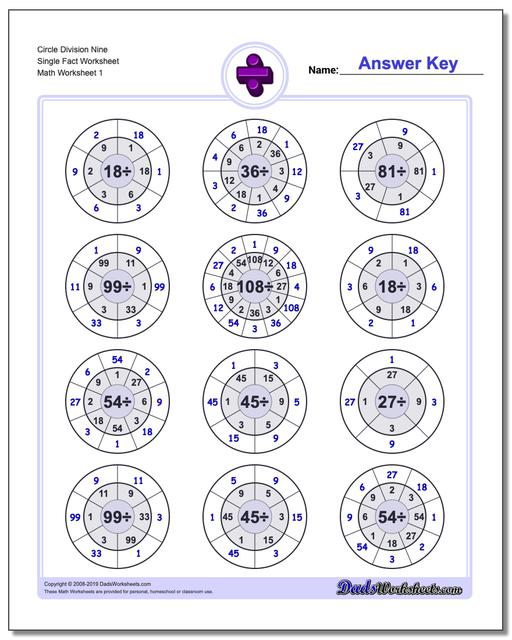 Division Worksheets Circle Nine Single Fact Worksheets