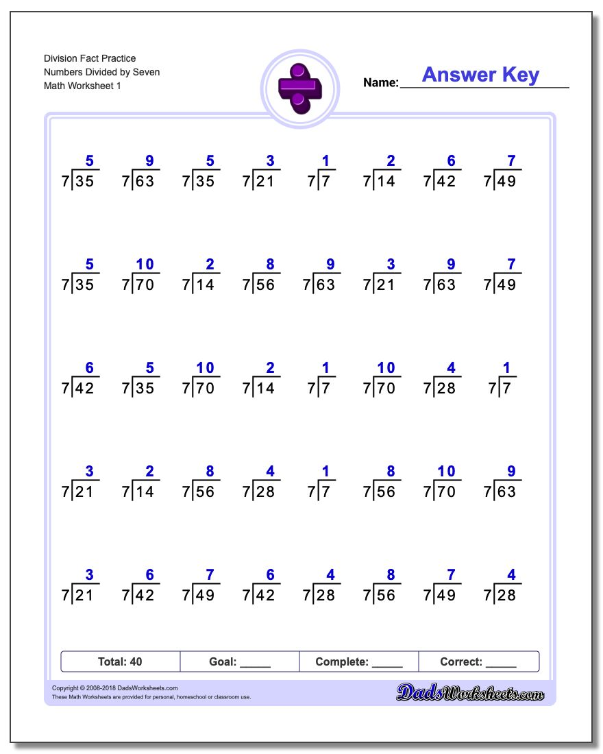 Division Worksheet Fact Practice Numbers Divided by Seven
