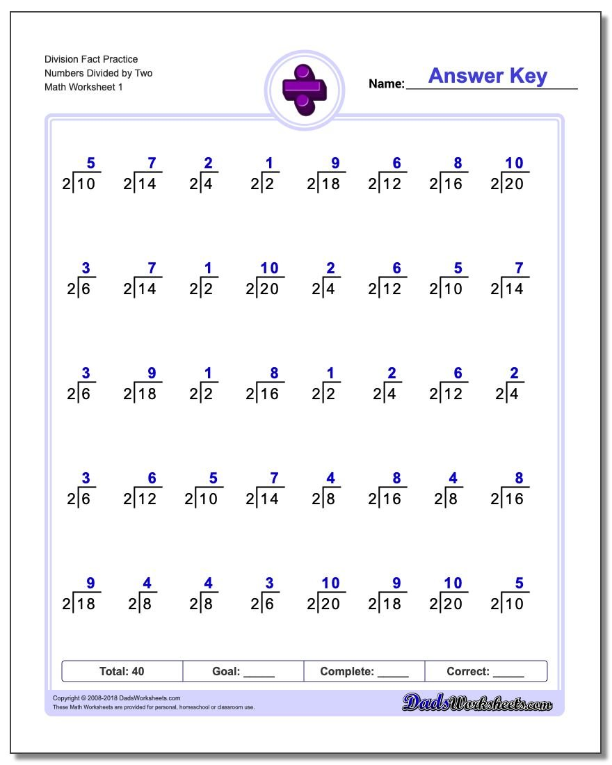 Division Facts – Divison Worksheet