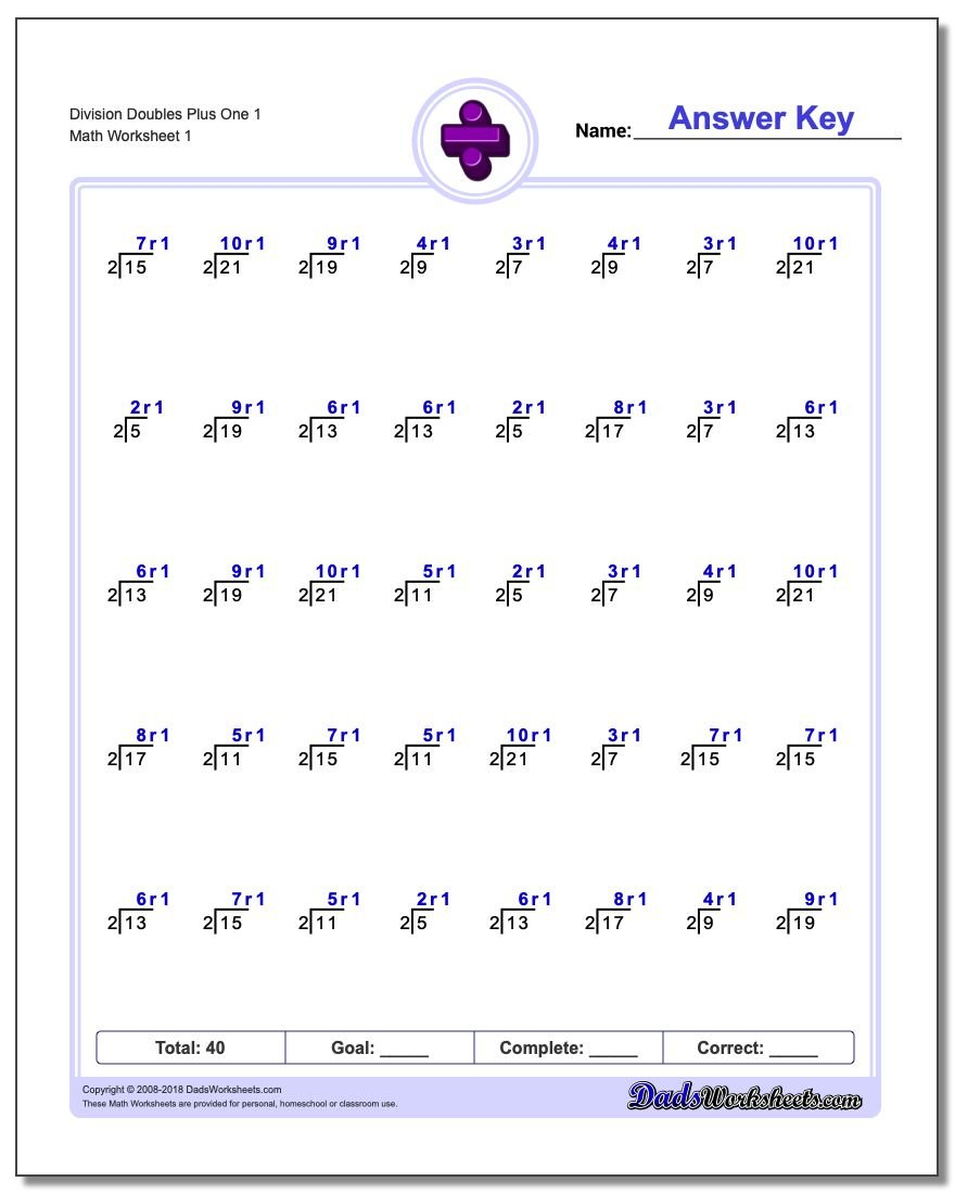 Division Worksheet of Doubles Plus One