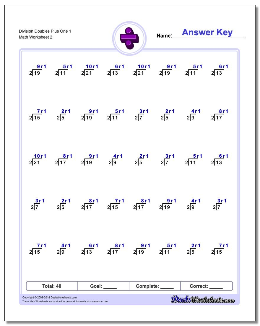 Division Worksheet Doubles Plus One 1 #Division #Worksheet